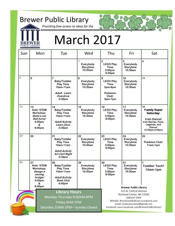 March 2017 Calendar Front