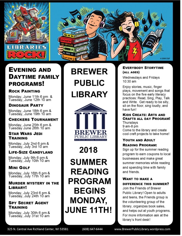 2018 Summer Letter Size Brewer Public Library Parks and Rec Flyer